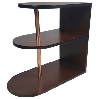 Art Deco Streamlined Walnut and Copper Three-Tiered Stand For Sale