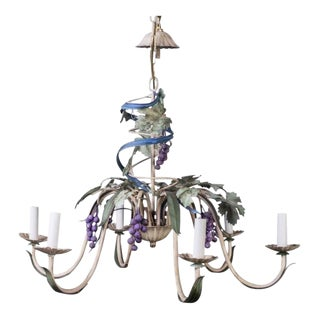 1950s French Provincial Polychrome Figural Toleware Chandelier For Sale