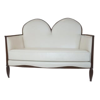 1920's French Art Deco Leather Loveseat For Sale