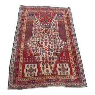 1950s Vintage Persian Qashqai Rug - 3′2″ × 4′9″ For Sale
