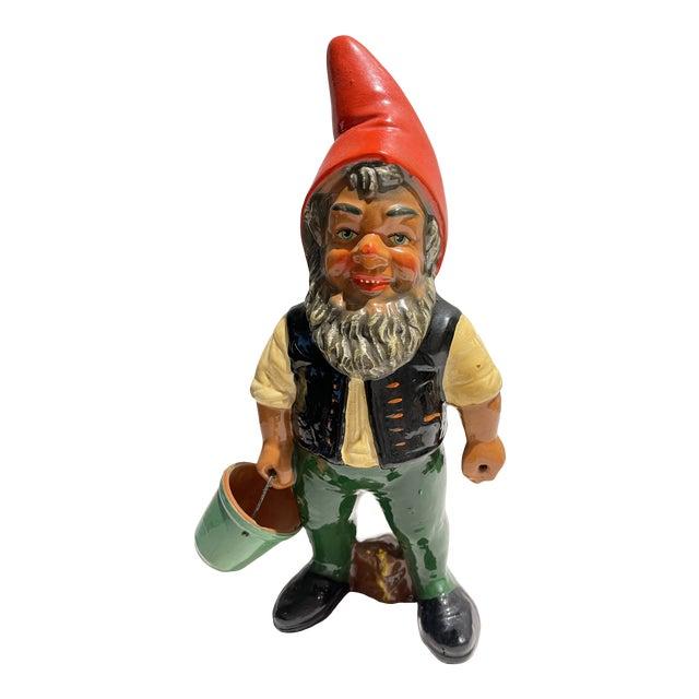 Vintage Heissner Hand-Painted Garden Gnome Elf For Sale
