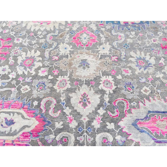 Sari Silk With Oxidized Wool Hand Knotted Oushak Runner- 8′1″ × 10′2″ For Sale - Image 9 of 13