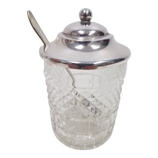 Antique English Jam Jar With Spoon For Sale