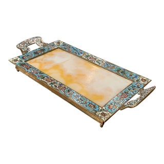 19th Century French Brass and Cloisonné Decorative Dish on Beige Marble For Sale