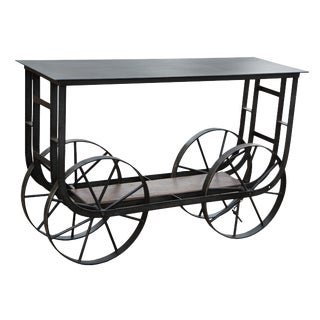 Iron Trolley Console Table For Sale