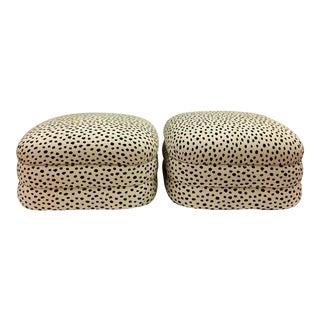 Kravet Animal Spot Upholstered Poufs - a Pair