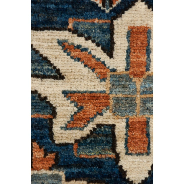 """Serapi Blue & Tan Hand-Knotted Runner - 3' 7"""" X 11' 8"""" - Image 3 of 3"""