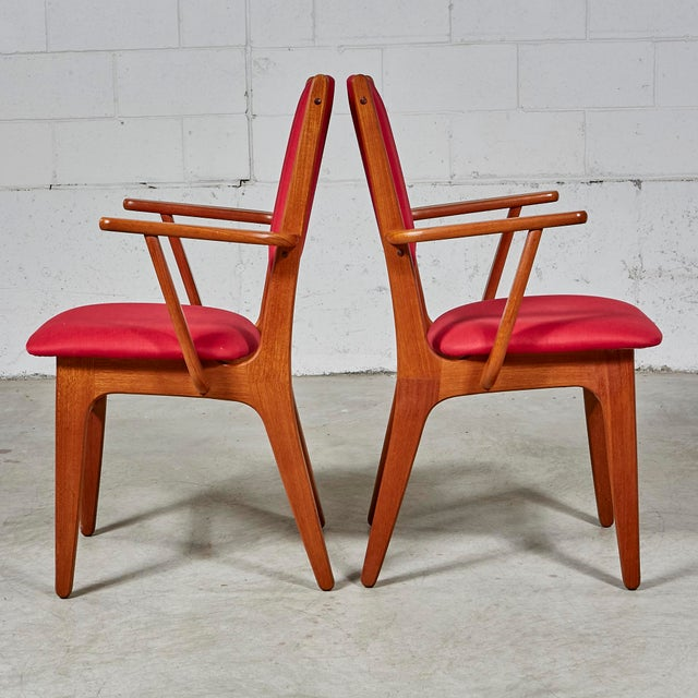 Red 1970s Teak Dining Table & Chairs For Sale - Image 8 of 13