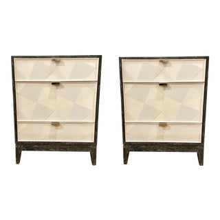 Bungalow 5 Modern Borneo Three Drawer Cerused Cape Lilac Mahogany Nightstands/Side Tables Pair For Sale