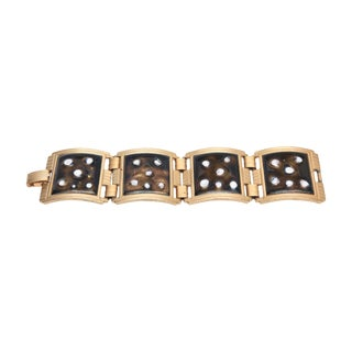 Vintage Mid Century Enamel and Gold Plated Abstract Link Cuff Bracelet For Sale
