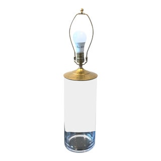 Contemporary Clear Glass Brass Hardware Cylinder Lamp For Sale