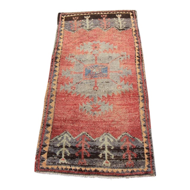 Mid-20th C. Vintage Antique Tribal Oushak Hand Knotted Turkish Rug - 1'8 X 3'5 - Image 1 of 5