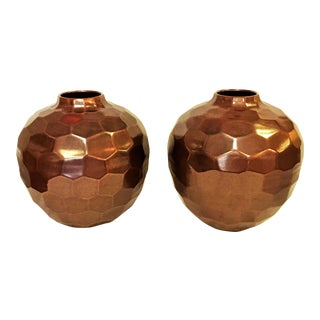 Large Geometric Honeycomb Style Ceramic Vases With Copper Glaze- a Pair For Sale