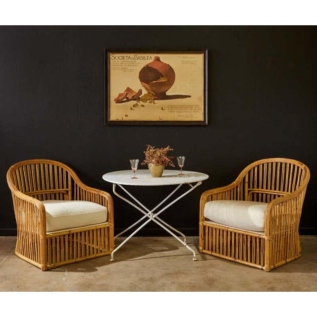 Stunning set of eight bamboo rattan lounge chairs made by Randolph and Hein San Francisco for Michael Taylor Interiors....