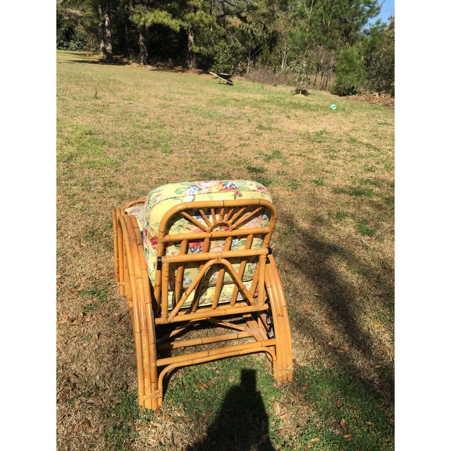Vintage Palecek Bamboo Recliner Chair & Ottoman - A Pair For Sale - Image 5 of 7