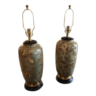 Hand Painted Frederick Cooper Floral Lamps - A Pair