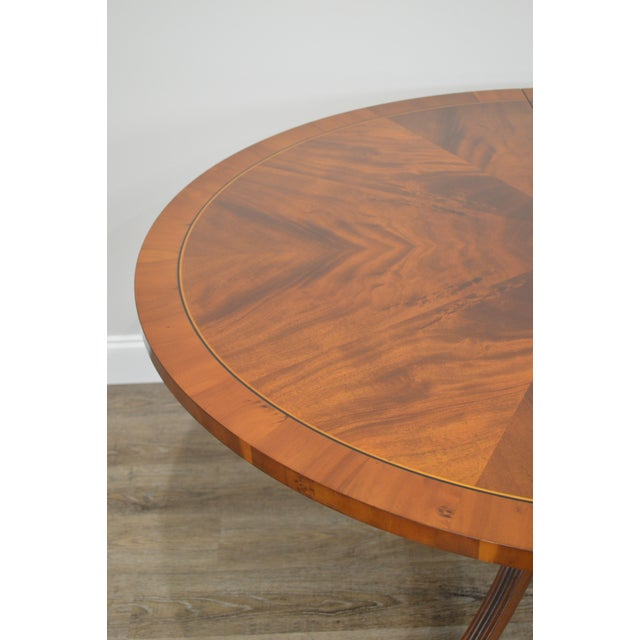 Hekman Flame Mahogany Yew Wood Banded Single Pedestal Dining Table For Sale - Image 11 of 13