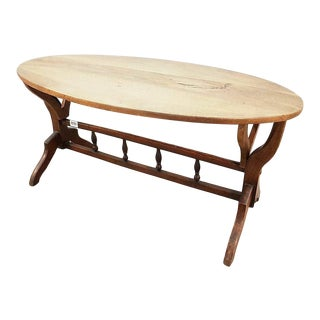 Vintage French Oak Oval Coffee Accent Table For Sale