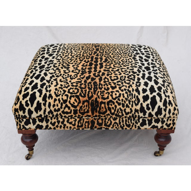 Henredon Leopard Velvet Cocktail Ottoman For Sale In Philadelphia - Image 6 of 9