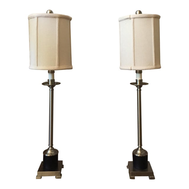 Candlestick Style Lamps - A Pair - Image 1 of 5