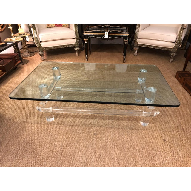Lucite and Glass Coffee Table in the Style of Parzinger For Sale - Image 9 of 9