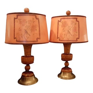 Pair of Antique Kasmir Candlestick Custom Lamps For Sale