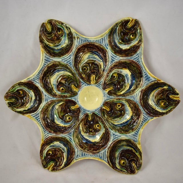 French Barbotine Palissy Majolica Fish Head Star Shaped Oyster Plate, Circa 1880 For Sale - Image 11 of 11