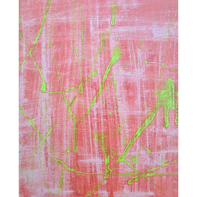 Original Abstract Watermelon Pink and Lime Green Splatter Painting For Sale - Image 4 of 6