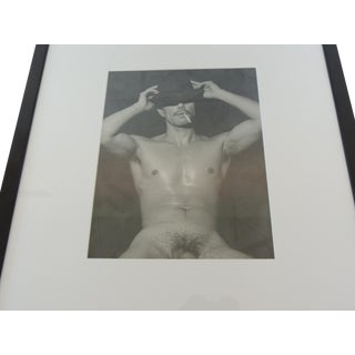 Nude Black & White Abstract Photograph of Male Torso With Hat and Cigarette For Sale