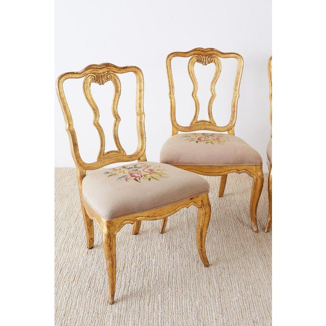 Mid 19th Century Set of Four Italian Giltwood Venetian Style Dining Chairs For Sale - Image 5 of 13