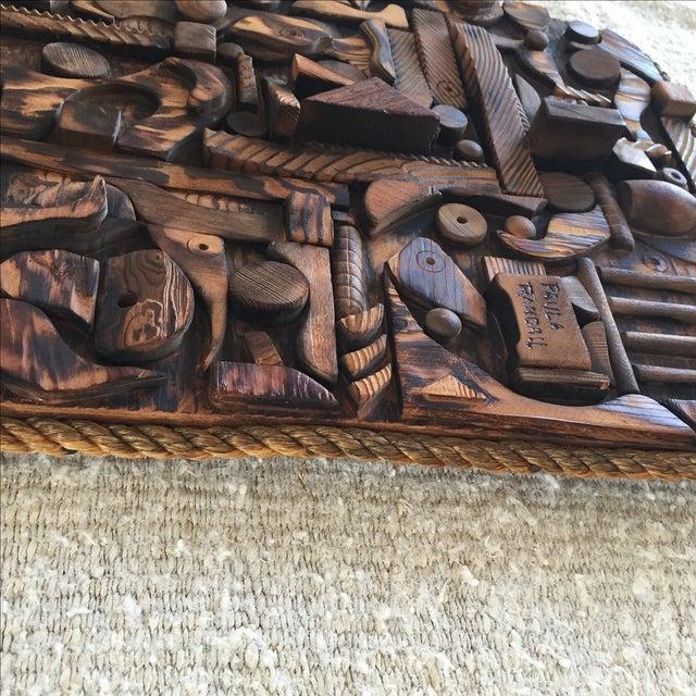 Wood Mosaic Collage Sculpture Paula Randall 1974 - Image 6 of 7