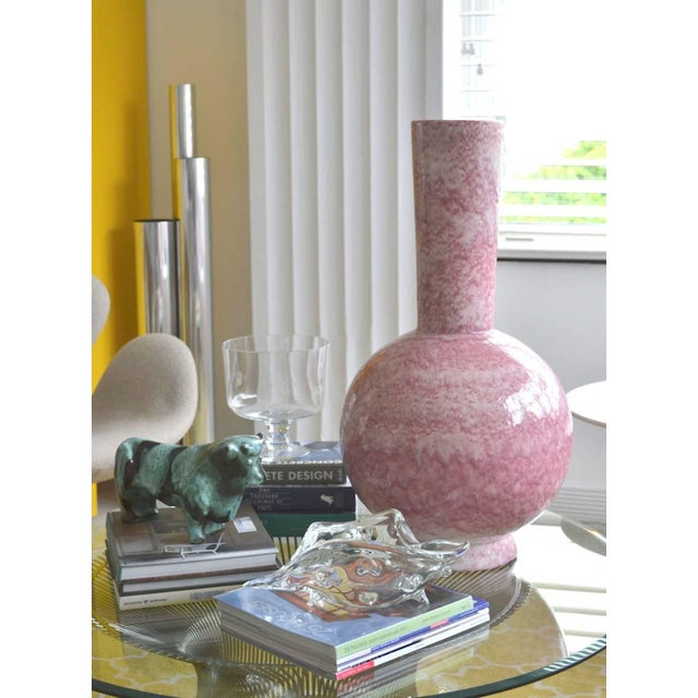 Striking Mid-Century long neck ceramic bottle form vase, fired in a mottled coral glaze crackled finish, circa...