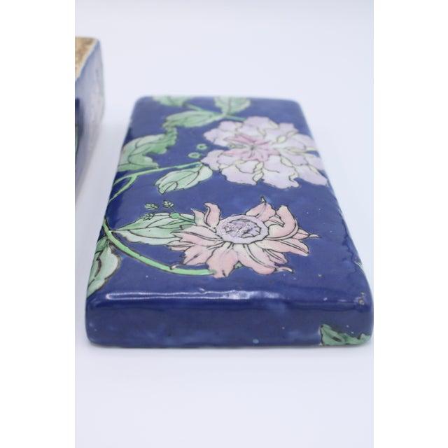 Ceramic Antique Asian Ceramic Floral Peonies Jewelry Box For Sale - Image 7 of 13