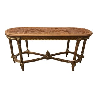 French Carved Cain Seat Louis XVI Style Bench