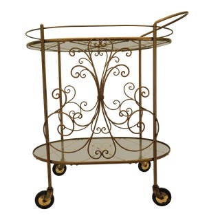 1960's Hollywood Regency Bar Cart For Sale