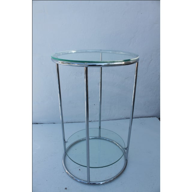 Chrome And Glass TwoTiered Side Table Chairish - Two tier glass side table