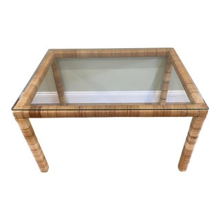Boho Chic Wicker Wrapped Glass Top Coffee Table For Sale