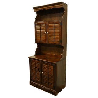 1970s Ethan Allen Antiqued Pine Old Tavern Shutter Door Cabinet With Bookcase Door Hutch Preview