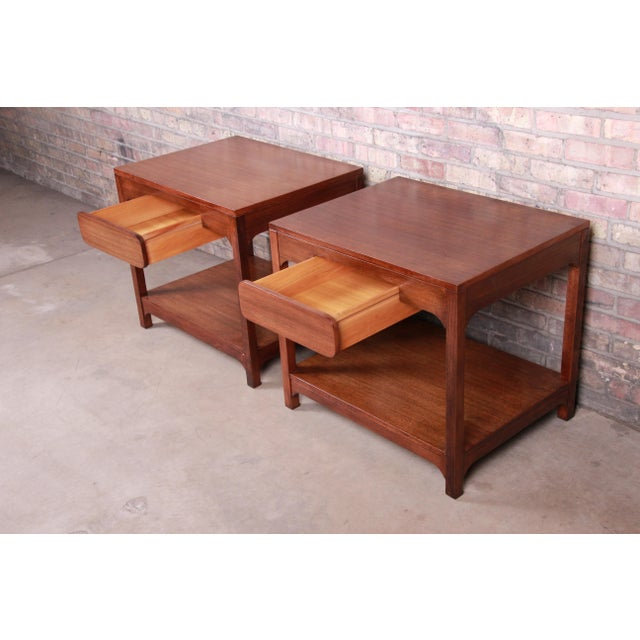 Wood Edward Wormley for Drexel Precedent Mid-Century Modern Nightstands or End Tables, Newly Refinished For Sale - Image 7 of 13