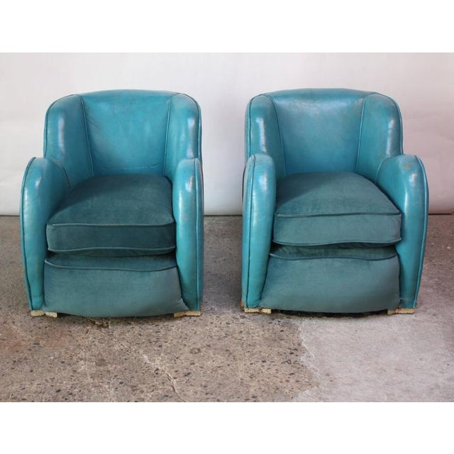 Scandinavian Deco Club Chairs in Blue Leather and Velvet - Image 7 of 11