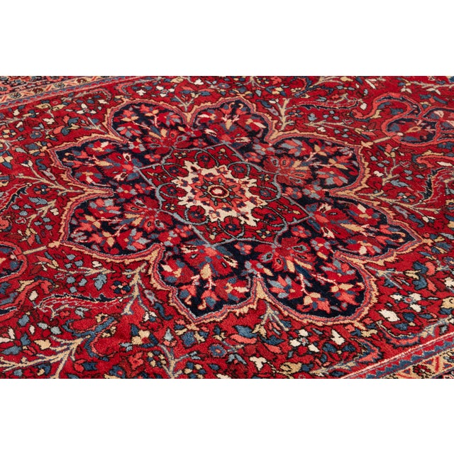 Red Mid 20th Century Vintage Persian Rug For Sale - Image 8 of 9