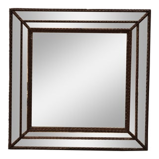 Vintage Tramp Art Square Wall Mirror For Sale