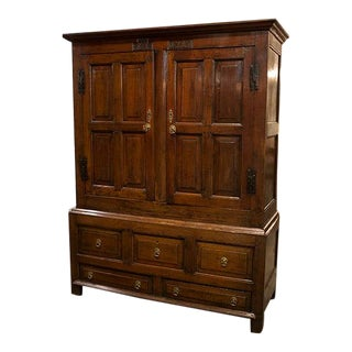 English Oak Linen Press Cupboard For Sale