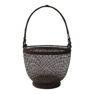 Fine Japanese Bamboo Ikebana Flower Basket For Sale