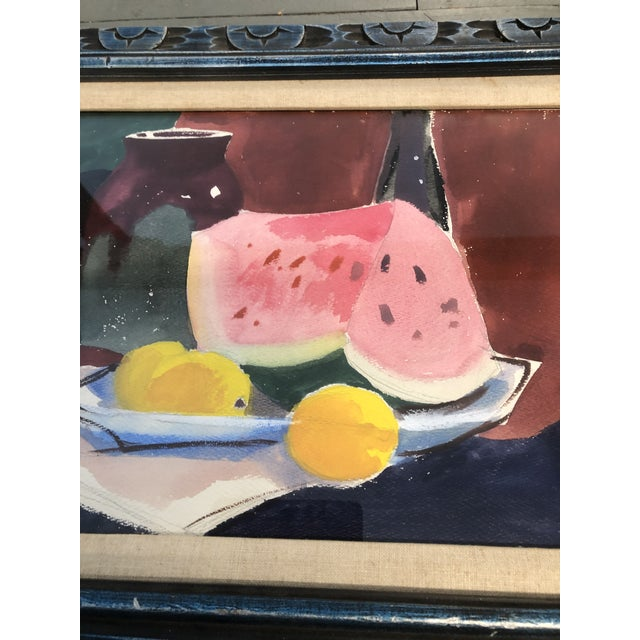 Expressionism Original Vintage Watercolor Still Life W/Watermelon Painting For Sale - Image 3 of 5