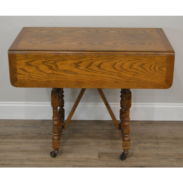Jacobean Baker Vintage Jacobean Style Oak Dropleaf High Low Adjustable Coffee Serving Table For Sale - Image 3 of 13