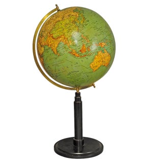 Antique Colorful Earth Globe Published By Wegweiser Ca. 1930 For Sale