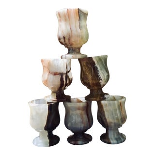 Vintage Onyx Marble Shot/Saki Goblets - Set of Six For Sale