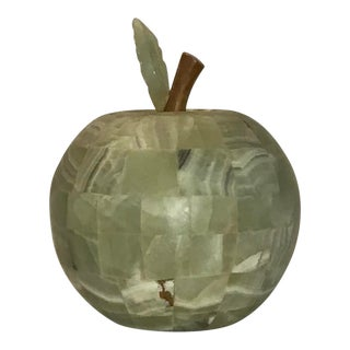 Vintage Green Stone Apple Bedside Lamp For Sale