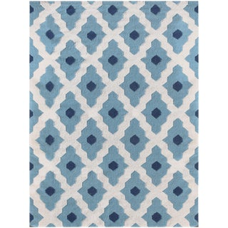 Zara Trellis Light Blue Flat-Weave Rug 8'x10' For Sale